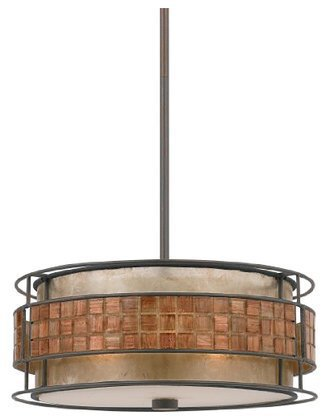 Quoizel MC842CRC Mica 3-Light Pendant, Quoizel Naturals Collection w/ Shade, Renaissance Copper