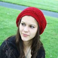 Crochet Slouch Hat, Cranberry Red, Winter Fashion