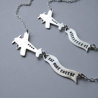 Message in the Sky  airplane and banner necklace by melaniefavreau