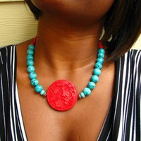 Red Flower Cinnabar Flare Necklace by zatanah on Etsy