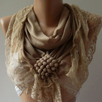 Caramel / Elegance  Shawl / Scarf with Lacy Edge.