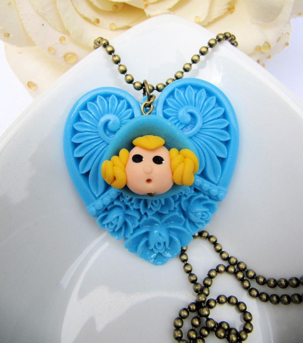 Cute Large Blue Heart Necklace, Gir.. on Luulla