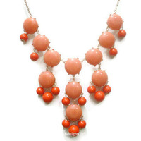 Free Shipping & Gift Wrapping, Bubble Necklace, Bubble Statement Necklace, Coral Bubble Necklace, J Crew Inspired, Coral