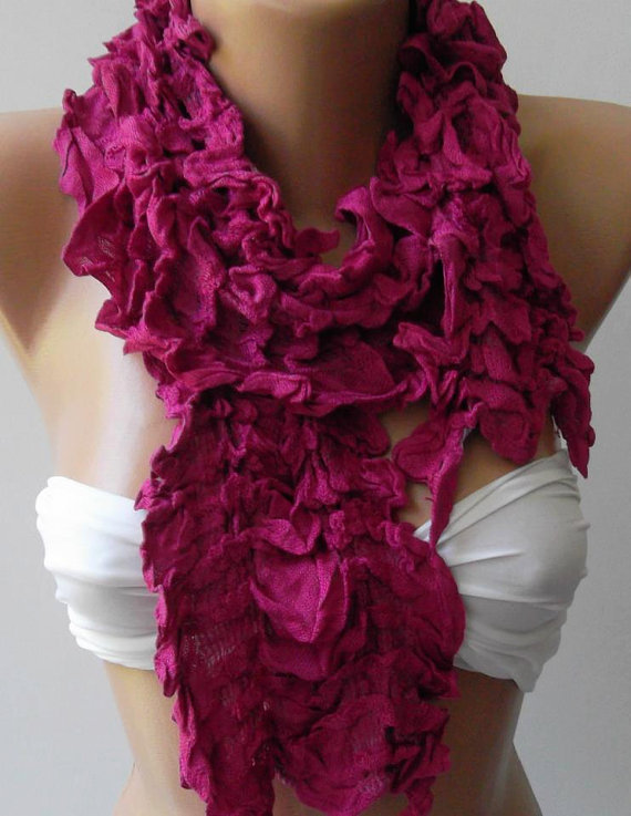 Fuchsia /Elegance Shawl / Scarf with Lace Edge--