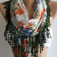 Elegance  Shawl - Scarf with Lacy Edge-