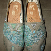 Custom TOMS Green (Turtles &amp; Rabbits) Shoes