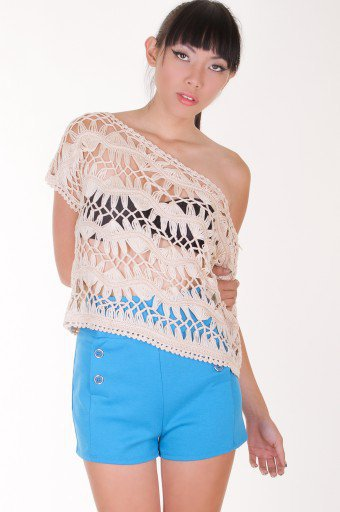 BEIGE CROCHET LOOSE TOP @ KiwiLook fashion