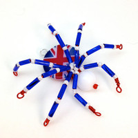 Beaded Spider Pendant - Union Jack - Red, White &amp; Blue