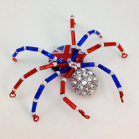 Beaded Spider Pendant - Union Flag Patriotic Spidey - Red, White &amp; Blue