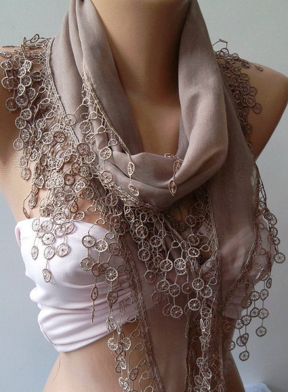 ON SALE /Stone Color -- Cotton/ Traditional Turkish fabric -Anatolian Shawl/Scarf-