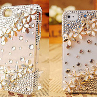 1PC Gift Case Packing 1PCS Handmade Crystal and White Alloy Flower cell phone case for iPhone 4 and iphone 4s cover