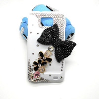 Handmade hard case for Samsung Galaxy S2: Bling black diamond bow with flowers (customized are welcome)