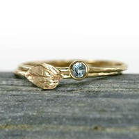 Scarlett Jewelry - Handmade Designer Jewels: Aquamarine Ring and 14k Gold Leaf Ring Set, Newest Designs