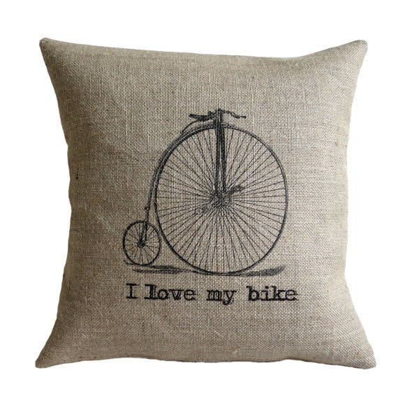 I Love my Bike Vintage Bicycle Hessian Burlap Pillow Cushion Cover 16""
