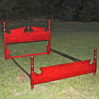 Vintage Queen Bed in a Vibrant Red..