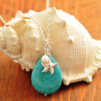 Beach Necklace - turquoise necklace, starfish necklace, star fish necklace, beach wedding, bridesmaid necklace