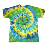 Child XL Blue Green Spiral Tie Dye Shirt