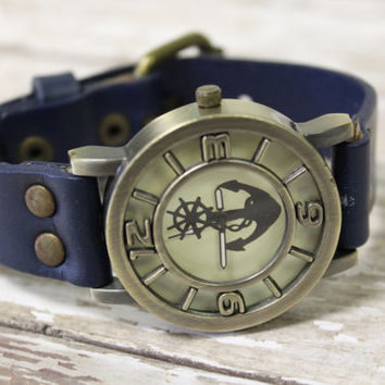 RETRO ANCHOR Blue Fashion watch womens large face genuine leather strap watch  Catherine Cole Studio W14