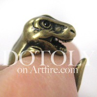 3D T-Rex Dinosaur Animal Ring in Bronze - Sizes 5 to 9 Available
