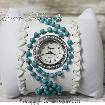 Boho white beaded cuff watch womens - FREE SHIP with any other item - fashion leather watch band rhinestone timepiece trendy ladies  W20