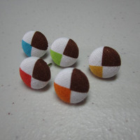 Fabric Cover Button Pushpin Thumbtacks - Bold Primary Color Argyle Pendants - Set of 5