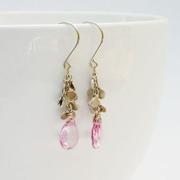 Pink topaz and sterling silver modern handmade dangle earrings. Pink gemstone earrings.