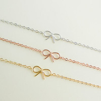 tiny small cute gold bow bracelet CHOOSE ONE gold / silver / rose gold