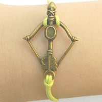 Cupid's arrow   Arrow of love yellow Adjustable Braided Bracelet