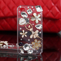 Gullei Trustmart : iPhone 4S 4G 3GS girly case floral rhinestones pearl clear cover [GTMSP0161] - $32.00-Couple Gifts, Cool USB Drives, Stylish iPad/iPod/iPhone Cases &amp; Home Decor Ideas
