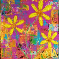 Yellow Flowers Pink Purple Mixed Media  Giclee Print Grow