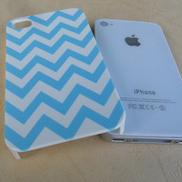 Tiffany Blue and White Chevron iPhone 4 case - ONE PIECE No Metal Iphone 4 case iPhone 4S cover