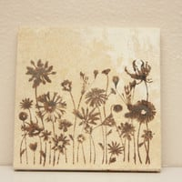 Hand Stamped Travertine Coaster Set - Field of Wildflowers - Set of 4
