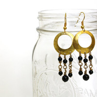 Black Onyx and Gold Chandelier Earrings