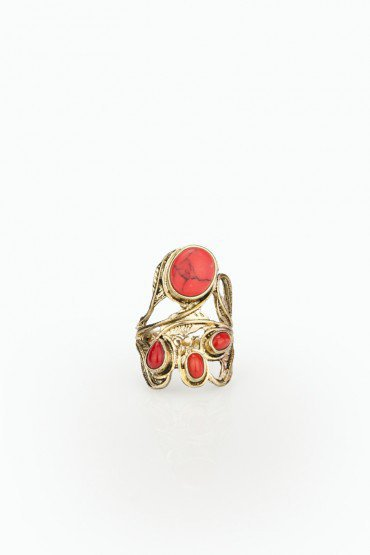Leaf and Coral Ring - ShopSosie.com