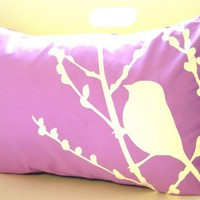 Lavender Bird on Cherry Blossom Pillow
