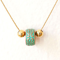 Mint Turquoise Necklace -Spring Jewelry, gold geometric jewelry