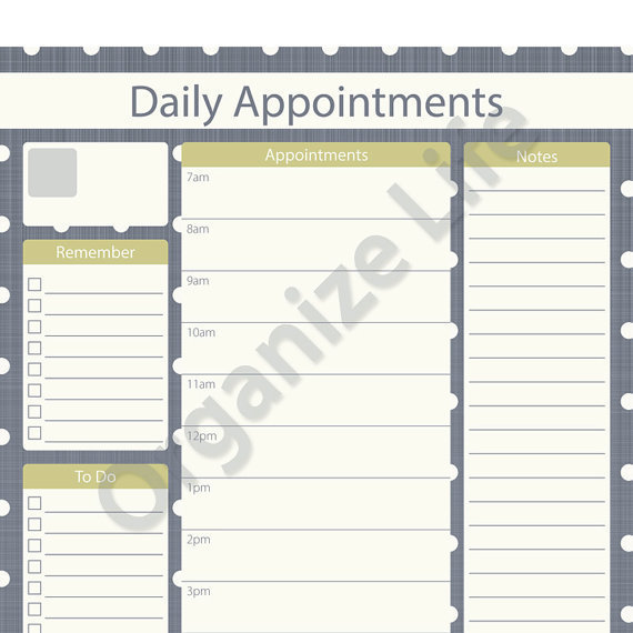 Daily Appointment Planner - Printable PDF from OrganizeLife on