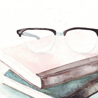 Original New Painting Watercolor Art 5.8 x 8.3 Inches Paper Vintage reading glasses and old diaries