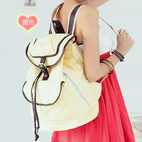 YESSTYLE: Smoothie- Contrast-Trim Canvas Backpack (Light Yellow - One Size)