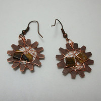 Tigers Eye Steampunk and Copper, Wire Wrapped  Earrings