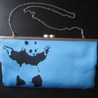 Upcycled Turquoise BCBG Graffiti Design Studded Clutch