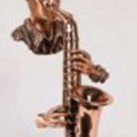 Copper Saxophone Player With Marble Base