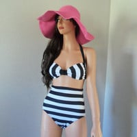 Black &amp; White striped high waisted swimsuit made to order