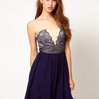 Little Mistress Embellished Lace Chiffon Dress at asos.com