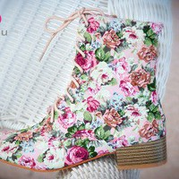 Bumper Moda-01 Mauve Floral Print Military Lace Up Ankle Boot - Shoes 4 U Las Vegas