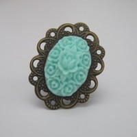 Victorian Filigree Ring in Sky Blue