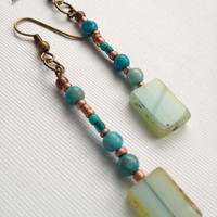 Turquoise and Glass Bead Dangles