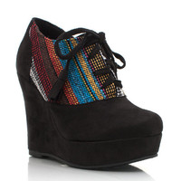 southwestern-wedge-booties BLACK GREY - GoJane.com
