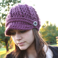 Crochet Newsboy Hat- Fig