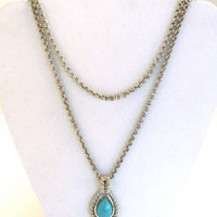 Faux Turquoise Rope Pendant Necklace by Avon